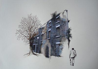 Davies str 5 80x60cm framed collage on paper