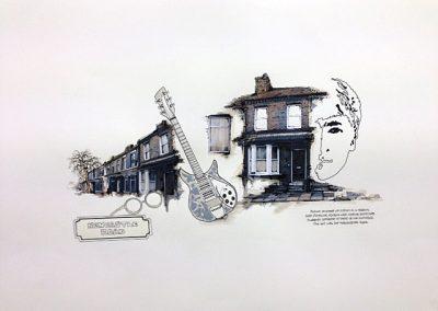 JOHN framed collage on paper 80x60cm SOLD