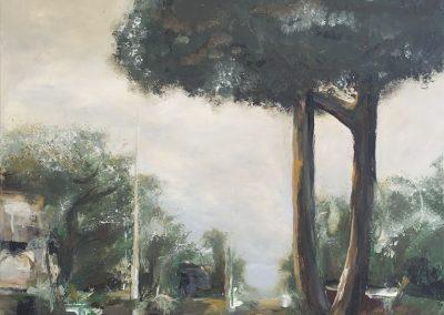 The mushroom tree 80x80cm framed acrylic on canvas