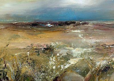 Estuary Grasses1 oil on canvas 50x20cm SOLD