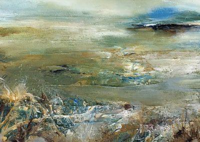 Estuary Grasses2 oil on canvas 50x20cm Framed