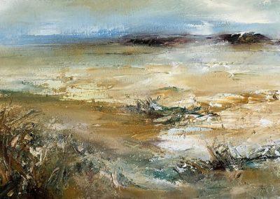 Estuary Grasses3 oil on canvas 50x20cm Framed