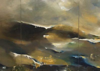 Estuary Reflective Landscape Triptych 80x210cm