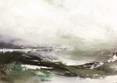 Estuary Waves acrylic on canvas paper 20x20cm